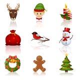 Icone colorate del nuovo anno e di Natale. Illustrazione di vettore. Fotografia Stock