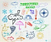 Icone colorate dell'illustrazione della mano del tempo del grunge Immagine Stock