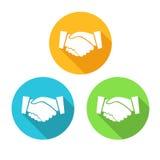 Icone colorate della stretta di mano nella progettazione moderna Fotografie Stock