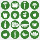 Icone colorate delle verdure e della frutta illustrazione di stock