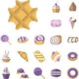 Icone colorate per i dessert Fotografia Stock Libera da Diritti
