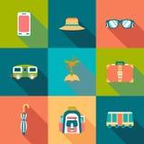 Icone colorate piano di viaggio con ombra Fotografia Stock Libera da Diritti