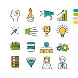 Icone colorate SEO lineari stabilite Immagine Stock