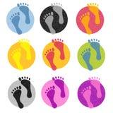 Icone Colourful di orma illustrazione di stock