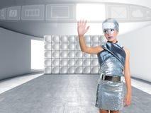 Icone commoventi d'argento del dito della ragazza futuristica del bambino Fotografia Stock Libera da Diritti