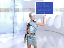 Icone commoventi d'argento del dito della ragazza futuristica del bambino Immagine Stock