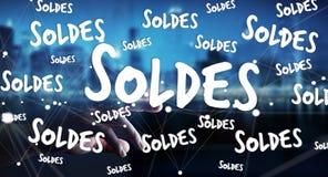 Icone commoventi di vendite dell'uomo d'affari con la sua rappresentazione del dito 3D Fotografia Stock