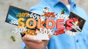 Icone commoventi di vendite dell'uomo d'affari con una rappresentazione della penna 3D Immagine Stock Libera da Diritti
