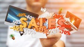 Icone commoventi di vendite dell'uomo d'affari con una rappresentazione della penna 3D Fotografia Stock