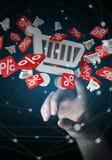 Icone commoventi di vendite della donna di affari con la sua rappresentazione del dito 3D Fotografia Stock