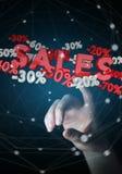 Icone commoventi di vendite della donna di affari con la sua rappresentazione del dito 3D Immagini Stock