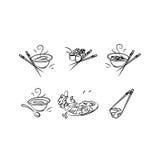 Icone con cucina giapponese Fotografia Stock