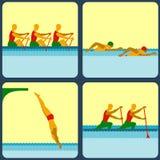 Icone con gli sport acquatici Immagini Stock Libere da Diritti