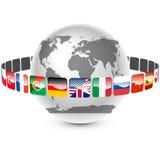 Icone con i linguaggi intorno alla terra Immagini Stock
