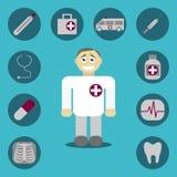 Icone con i segni medici Immagini Stock Libere da Diritti