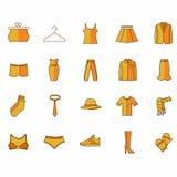 Icone con i vestiti di colore giallo illustrazione vettoriale