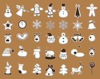 Icone con il Natale bianco del colpo Immagini Stock