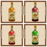 Icone con il rum del pirata Fotografie Stock