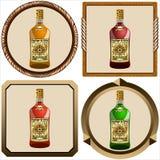 Icone con il rum del pirata Immagine Stock