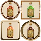 Icone con il rum del pirata Fotografia Stock