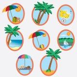 Icone con il tema di vacanza. Fotografie Stock