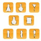 Icone con il vetro del laboratorio Immagini Stock Libere da Diritti