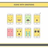 Icone con le emozioni Fotografia Stock