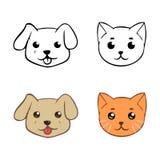 Icone con le teste del cane e del gatto Immagine Stock