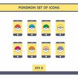 Icone con Pokemon Immagini Stock