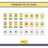 Icone con Pokemon Fotografia Stock