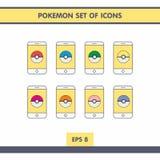 Icone con Pokemon Fotografia Stock Libera da Diritti