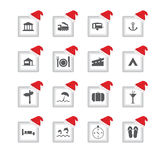 icone con progettazione di Natale Fotografia Stock Libera da Diritti