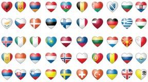 Icone con tutte le bandierine dell'insieme di vettore del mondo Immagine Stock Libera da Diritti