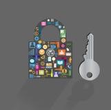 Icone concetto chiave, illustrazione di affari di vettore Fotografia Stock