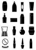 Icone cosmetiche dei contenitori messe Fotografia Stock Libera da Diritti