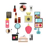 Icone cosmetiche messe, stile piano Fotografie Stock