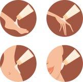 Icone cosmetiche. Screma per le zone differenti della BO illustrazione vettoriale