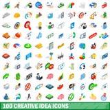 100 icone creative di idea hanno messo, stile isometrico 3d illustrazione di stock