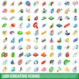 100 icone creative messe, stile isometrico 3d illustrazione di stock