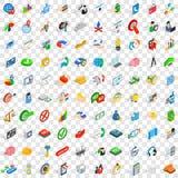 100 icone creative messe, stile isometrico 3d Fotografia Stock Libera da Diritti