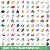 100 icone creative messe, stile isometrico di vendita Fotografia Stock Libera da Diritti