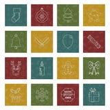 Icone cucite di natale Immagine Stock