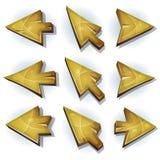 Icone, cursore e frecce di legno illustrazione vettoriale