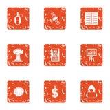 Icone cyber messe, stile di diversione di lerciume illustrazione vettoriale
