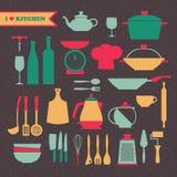 Icone d'annata dei piatti della cucina messe Fotografia Stock Libera da Diritti