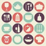 Icone d'annata dei piatti della cucina messe Immagine Stock