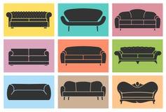Icone d'annata del sofà messe. Concetto della mobilia del sottotetto Immagine Stock Libera da Diritti