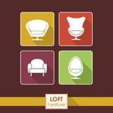 Icone d'annata della poltrona di vettore messe. Concetto della mobilia del sottotetto Immagini Stock Libere da Diritti