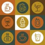 Icone d'annata delle bevande messe Immagine Stock Libera da Diritti