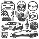 Icone d'annata di corsa di automobile messe Fotografia Stock